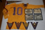 Framed football team pictures: 1949 Midgets, 1950 Juniors, 1951 Seniors, 1952 Seniors; Ron Good's jersey, his 'officia